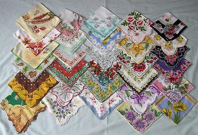 Vtg Ladies Hankies Lot 155,floral, Scalloped, Crocheted, Tatted,lace * Excellent