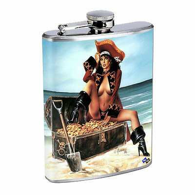 Savage Pirate Pin Up D1 Flask 8oz Stainless Steel Hip Drinking Whiskey Rum