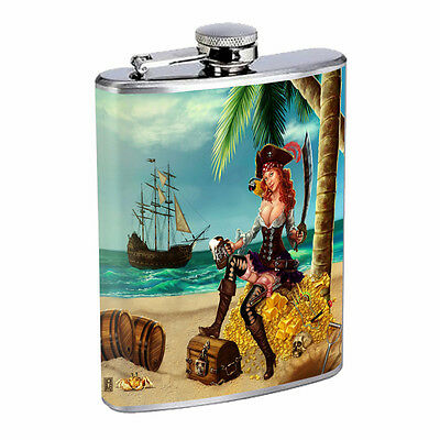 Savage Pirate Pin Up D7 Flask 8oz Stainless Steel Hip Drinking Whiskey Rum