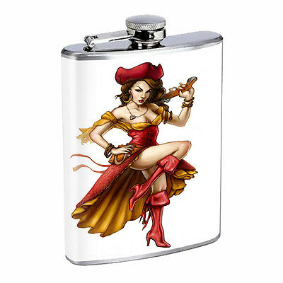 Savage Pirate Pin Up D9 Flask 8oz Stainless Steel Hip Drinking Whiskey Rum