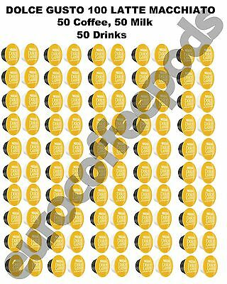 100 x Dolce Gusto Latte Macchiato Coffee Pods Capsules 50 Servings Sold Loose