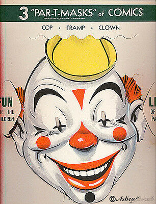 Vtg 1930s  Par-T-Masks Einson-Freeman Set Cop Tramp Clown in Original Wax Sleeve