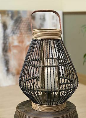 """18"""" Zen Candle Lantern with Handle - Bamboo & Rattan With Glass Sleeve  NEW"""