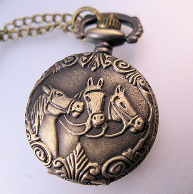 Vintage Style Horse Head Ladies Petite Pocket Watch Pendant Necklace with Chain