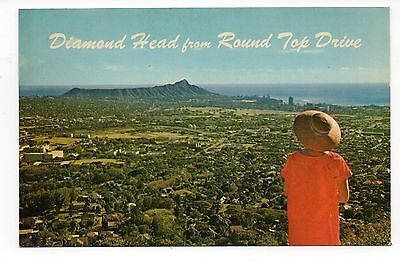 Diamond Head From Round Top Drive Hawaii Vintage Postcard, apl