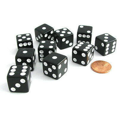 Set of 5 Six Sided Square Opaque 16mm D6 Dice - Black with White Pip Die TSC