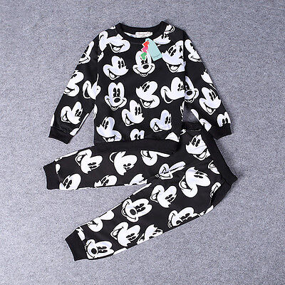 Kids Boys Baby 2Pcs Mickey Mouse Sweater T-shirt Tops+ Pants Trousers Set Outfit