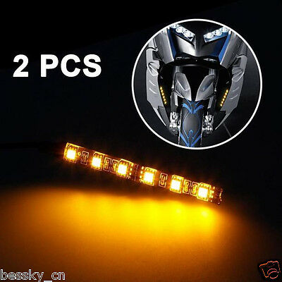 2x Mini Strip led motorcycle Turn signal Universal Amber lights Strip 6LED 12V