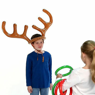 Holiday CHRISTMAS Party Game INFLATABLE REINDEER ANTLER HAT RING TOSS KIDS