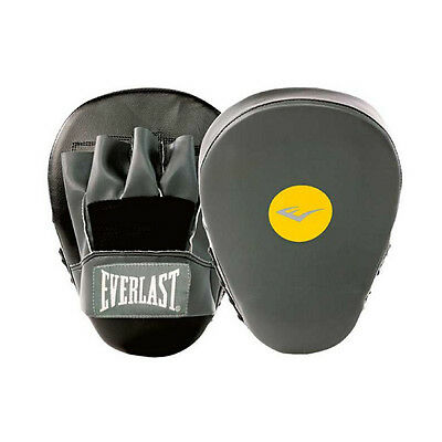 Everlast Boxing Pre Bent Focus Mitts Punch Pads Fitness Training Black Gloves