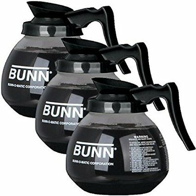 BUNN Glass Regular Coffee Pot Decanter / Carafe, 12 Cup, Set of 3, Black