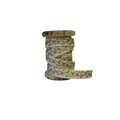 Cream and Gold Holly Ribbon on a Spool- Premium Trim Collection