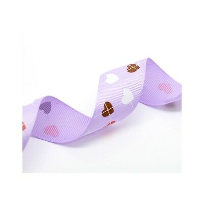 "Purple Love Hearts 1"" Wide Craft Grosgrain Ribbon 20 yards/18m"