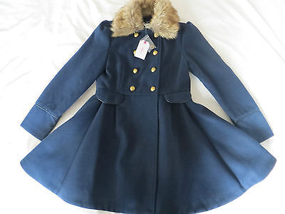 BNWT Girls Blue Traditional Double Breasted Full Skirt Fur Collared Coat Age