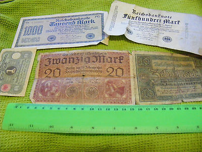 Lot of 5 Genuine Very Old German Banknotes::.1918 to 1922....(E)