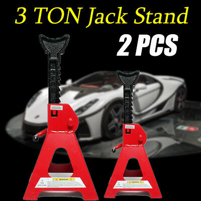 2pcs 3000kg Car Jack Stand Ratchet Adjustable Lift Hoist Heavy Duty Steel Red AU