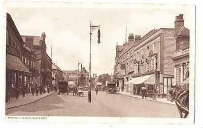 Early Postcard,Hertfordshire,Watford, Market Place, Old Shops, Cars Outside,