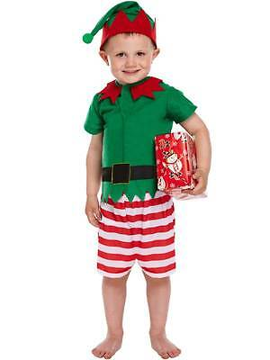 Child Boys Kids Santas Little Helper Elf Christmas Fancy Dress Costume Nativity