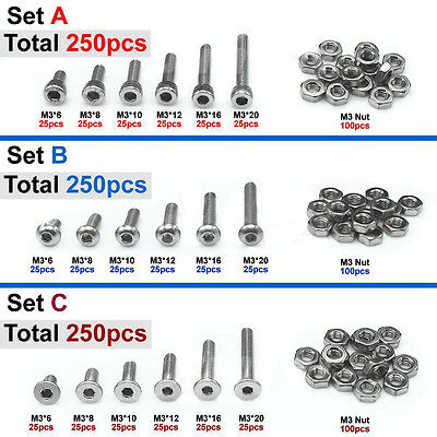 250pcs M3(3mm) A2 Stainless Steel Allen Bolts With Hex Nuts Screws Assortment