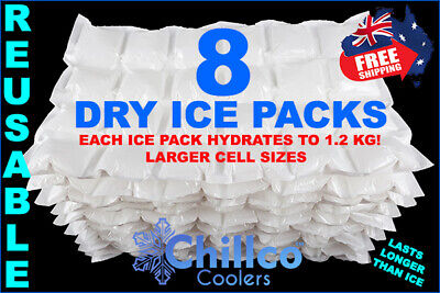 8 X Sheets Dry Gel Ice Packs - Reusable - Hydrates To 1.2 Kg - Dry Ice Packs