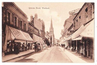 Early Postcard,Hertfordshire,Watford, Queens Road, Old Shops, People Outside
