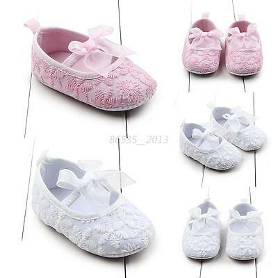Newborn Infant Girl 0-12M Cute Crib Shoes Baby Toddler Soft Sole Prewalkers New