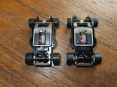 2 AFX-Tomy turbo WIDE chassis, NEW, ho spares, parts, car track tyco