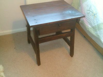 Antique rustic Spanish solid wood side lamp table with drawer