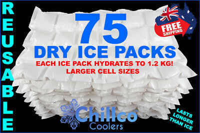 75 X Sheets Dry Gel Ice Packs - Reusable - Hydrates To 1.2 Kg - Dry Ice Packs