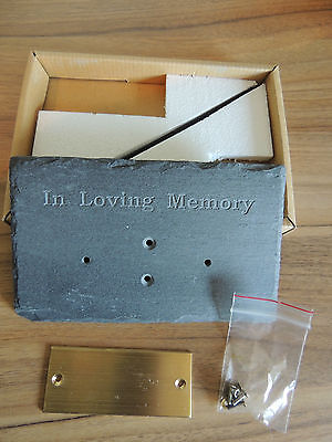 "Natural Slate Plaque ""In Loving Memory"" with Brass Plate for Engraving - Pets"