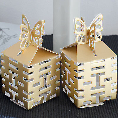 Gold gift boxes Cube shaped wedding favour butterfly Chinese Asian  SALE Reduced