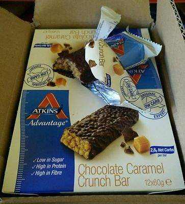 ATKINS 24 chocolate caramel crunch bars 09/16 low carb dukan diet