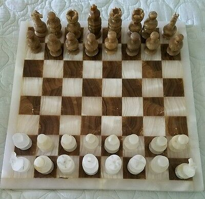 """Vintage Marble/Onxy Chess Board White and Brown Figures 14"""" Board 32 piece set"""