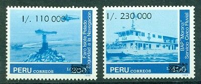 Peru Scott #991-992 MNH Lighthouse Hospital Ship Helicopter CV$4+