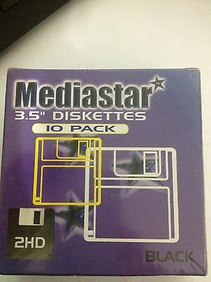 "10 Pack Mediastar 3.5"" Diskettes 2HD - Black - New Sealed"