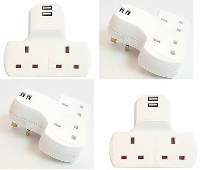 2 Gang Electrical Plug Wall Socket Multiway Adaptor 2 USB Outlets Ports Charger