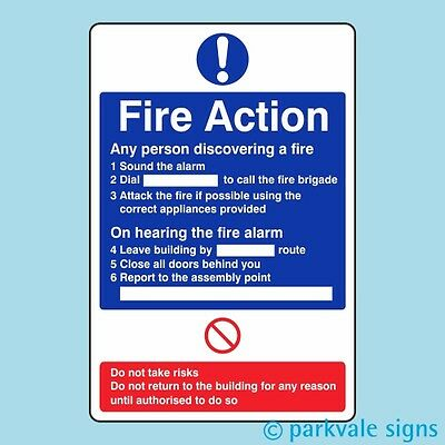 General Fire Action Sign (411)