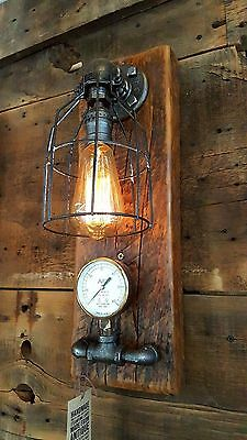 Steampunk Lamp Industrial Machine Age Steam Gauge Light Wall Sconce Barn Wood