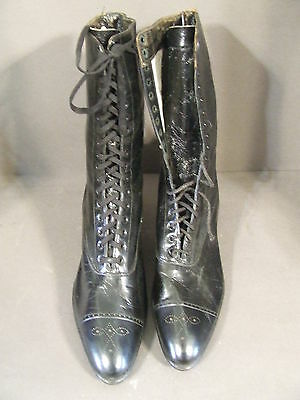 Antique Victorian Edwardian Girl Graduate Black Leather Lace Up Boots