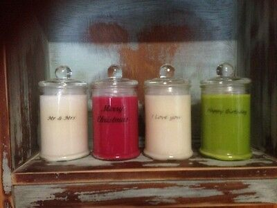 Personalised & Handmade 100% Soy Wax Strongly Scented Candles 30 Hour Burn Each