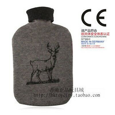 Germany Made Fashy 2.0L Hot Water Bottle With Grey & Deer Embroidery Cover 6771