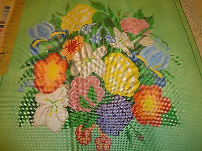 Vtg Needlepoint Canvas Pretty Floral Flowers 14x14  Pillow Framing Unfinished