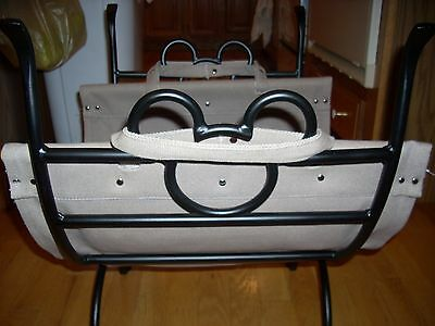 Mickey Wrought Iron folding firewood holder with Carrier Rare !!!!  NEW!!!!