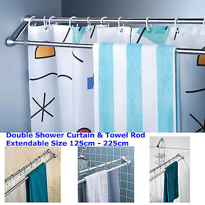 Stainless Steel Straight Rod Bath Shower Curtain Rod With Towel Rail