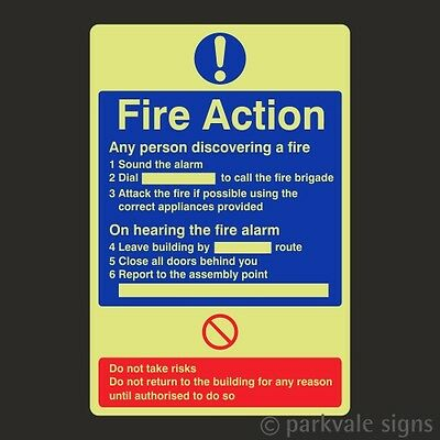 Photoluminescent General Fire Action Sign (7811)