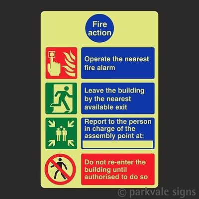 Photoluminescent General Fire Action Sign (7816)