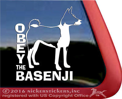 Obey the Basenji | High Performance Vinyl Window Auto Tablet Dog Decal Sticker
