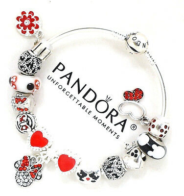 Authentic PANDORA Silver Bangle Bracelet Disney Mickey Minnie European Charms