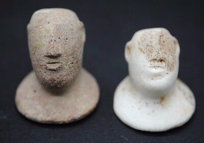 Two West Asian Stone And Clay Heads