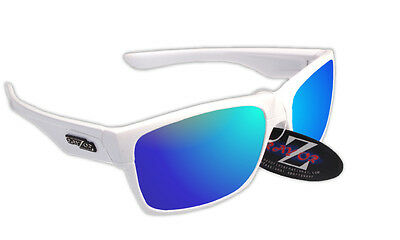 RayZor Uv400 White Running Sports Wrap Sunglasses Blue Mirror Lens RRP£49 (424)